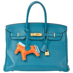 2013 Hermès Blue Izmir Clemence Leather Birkin 35cm