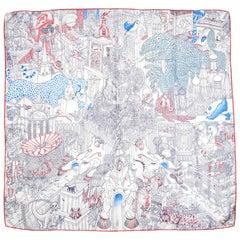 Hermes White Blanc/ Blue Azur/ Red Rouge Animapolis 90cm Silk Scarf