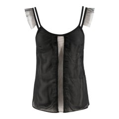 Burberry Ruffle Trim Mesh Cami Top US 0-2