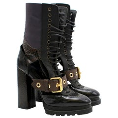 Burberry Leather And Snakeskin Cut-out Platform Boots US 10