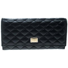 Dolce And Gabbana Black Quilted Leather Flap Wallet