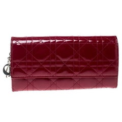 Dior Red Cannage Patent Leather Lady Dior Clutch