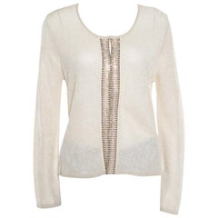 Escada Beige Lurex Knit Embellished Cardigan M