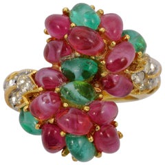 Trifari Gold Plated Ring with Dark Pink and Green Glass Cabochons, circa 1960s