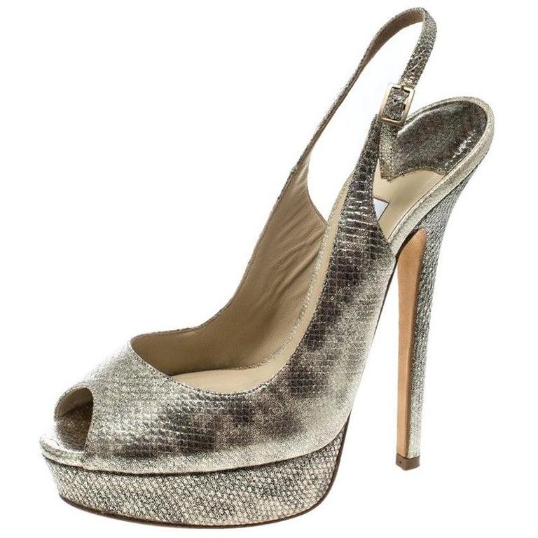 8f991a403c3 Jimmy Choo Metallic Gold Embossed Leather Vita Peep Toe Slingback Sandal  Size 38 For Sale