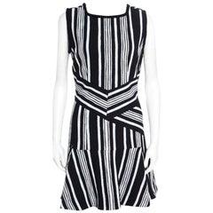 Carven Monochrome Textured Cutout Back Detail Sleeveless Dress L