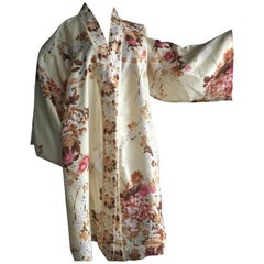 Vintage Silk Kimono with Floral Motifs of the Japanese Blossoms & Chrysanthemums