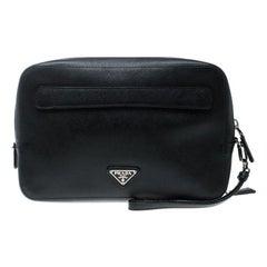 Prada Black Saffiano Leather Portfolio Zip Clutch