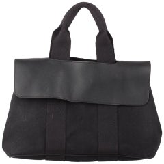 Hermes Black Canvas and Leather Valparaiso PM Bag