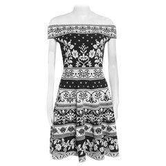 Alexander McQueen Monochrome Floral Jacquard Knit Off Shoulder Dress M