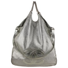 Chanel Silver Perforated Leather Large Rodeo Drive Hobo Bag
