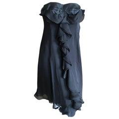 Yves Saint Laurent Rive Gauche Black Ruffled Silk Cocktail Dress w Satin Corset