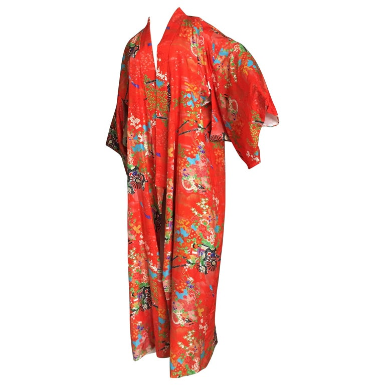 71307477c46db Ichiban Open Kimono Robe Red and Orange,Japan ,1960s For Sale at 1stdibs