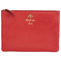 2018 Gucci Red Calfskin Leather 'Blind For Love' Pouch