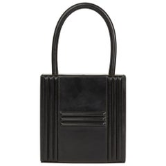 1993 Hermes Black Box Calf Leather Vintage Cadena Bag