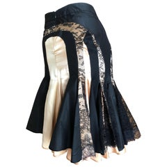 Alexander McQueen A' 2003 Lace Insert Silk Skirt with Fishtail Back Size 42