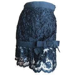Yves Saint Laurent Rive Gauche Vintage 70's Black Lace Mini Skirt