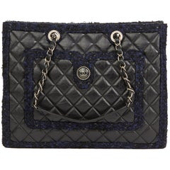 a187b1507ffc 2015 Chanel Black Quilted Aged Quilted Calfskin & Navy Tweed Grand Shopping  Tote