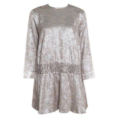 Rochas Beige Floral Metallic Brocade Smocked Drop Waist Dress M