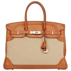 2014 Hermès Barenia Leather & Toile Ghillies Birkin 35cm