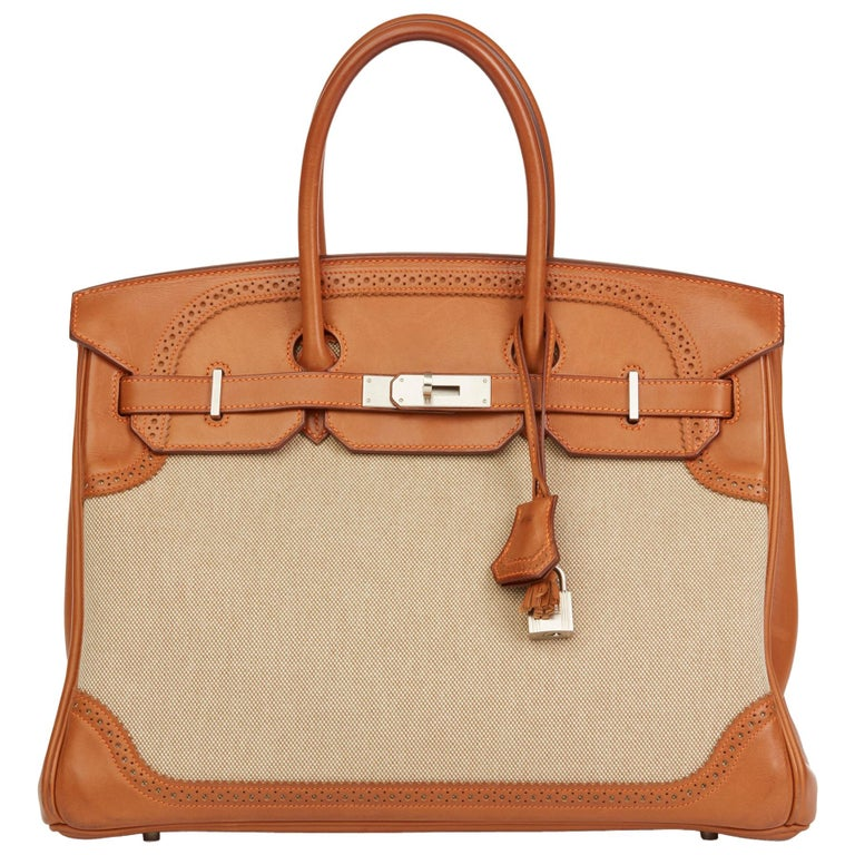 d411850e500 2014 Hermès Barenia Leather and Toile Ghillies Birkin 35cm For Sale ...