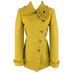 CHANEL Size 6 Yellow Speckled Tweed Asymmetrical Flower Brooch Coat