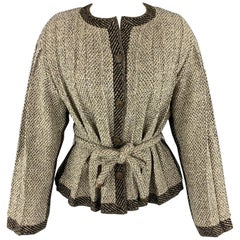 CHANEL Size 8 Taupe & Beige Textured Pleated Fabric Cardigan Jacket