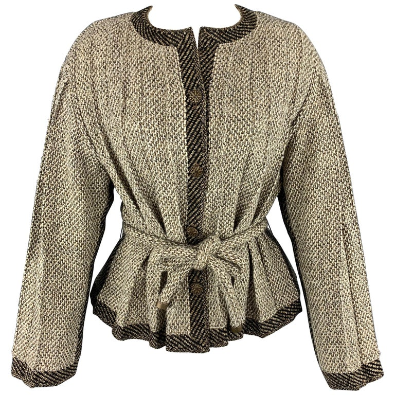 cbe06a5eb CHANEL Size 8 Taupe & Beige Textured Pleated Fabric Cardigan Jacket