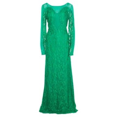 Emilio Pucci Emerald Green Lace Applique Long Sleeve Evening Gown L
