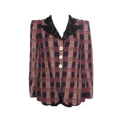 690d84ec72 Sonia Rykiel Multicolor Checked Printed Cotton and Linen Contrast Collar  Blazer