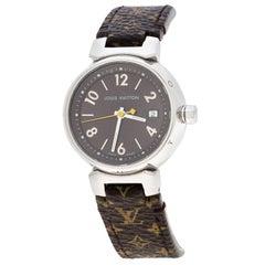 Louis Vuitton Stainless Steel Monogram Tambour Q1211 Women's Wristwatch 28 mm