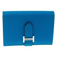 Hermes Teal Blue Epsom Leather Bearn Card Holder