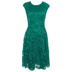 Carolina Herrera Green Lace Paneled Sleeveless Sheath Dress L
