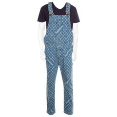 Louis Vuitton x Supreme Indigo Monogram Jacquard Denim Overalls XS