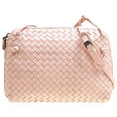 Bottega Veneta Pink Intrecciato Leather Nodini Crossbody Bag
