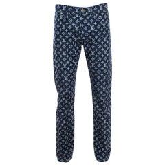Louis Vuitton X Kim Jones Indigo Monogram Denim Regular Fit Jeans M