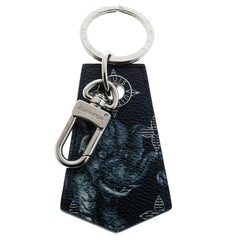 Louis Vuitton Chapman Blue Printed Canvas Silver Tone Key Holder / Keychain