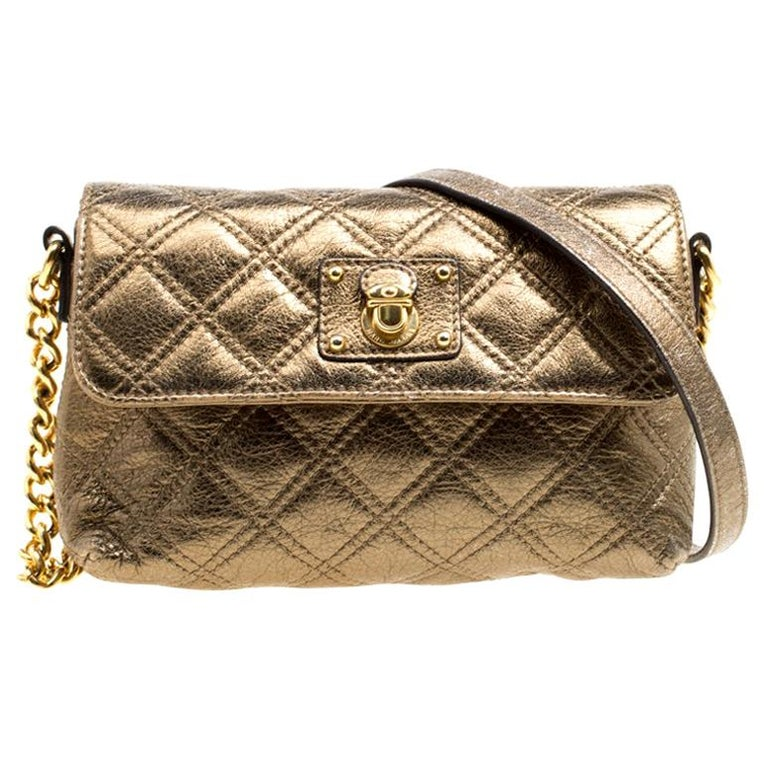836bea1b8e2 Marc Jacobs Bronze Quilted Leather Day To Night Single Crossbody Bag For  Sale