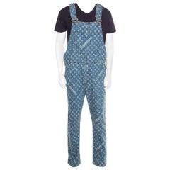 Louis Vuitton x Supreme Indigo Monogram Jacquard Denim Overalls S