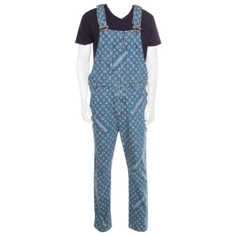 11765452d51 Louis Vuitton x Supreme Indigo Monogram Jacquard Denim Overalls S For Sale