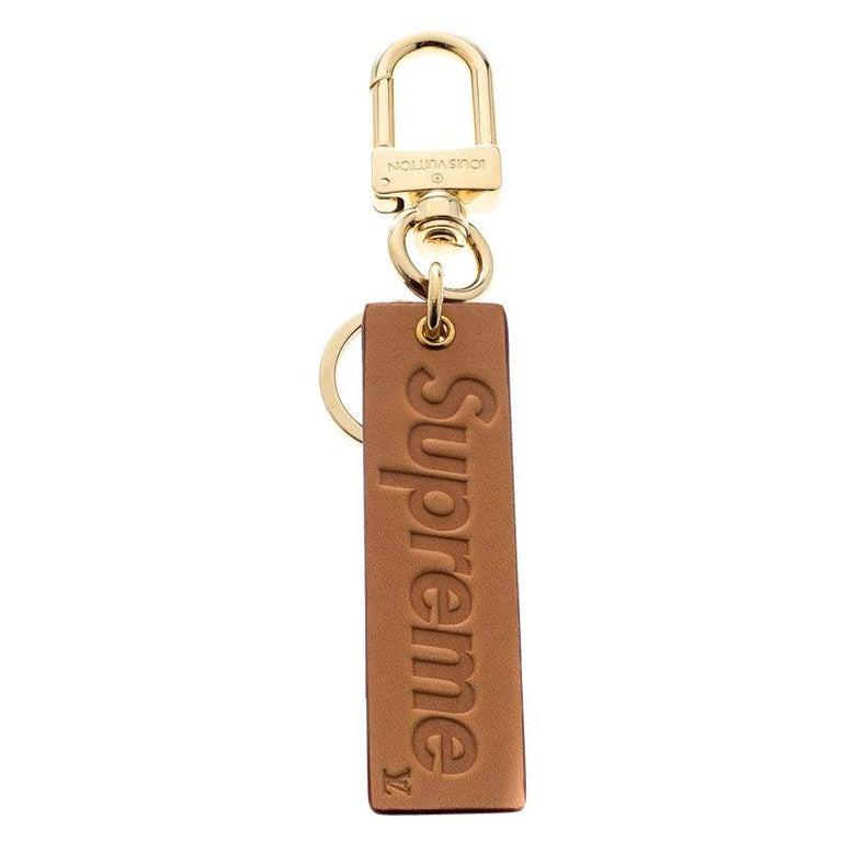 Louis Vuitton Supreme Logo Brown Leather Key Ring