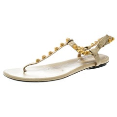 Balenciaga Light Yellow Studded Leather Arena Thong Sandals Size 38