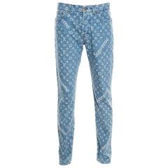 Louis Vuitton x Supreme Indigo Monogram Jacquard Denim Jeans M
