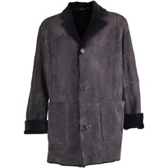 Pancaldi Men's Black Sheepskin Ovine Suede Fur Vintage Coat, 1990s
