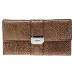 Gucci Brown Leather Guccissima Trim Flap Continental Wallet
