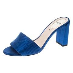 Fendi Blue Satin Logo Embroidered Block Heel Slide Mules Size 39.5