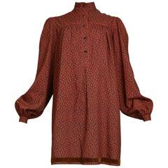Vintage 1970s Yves Saint Laurent Paisley Mini Dress