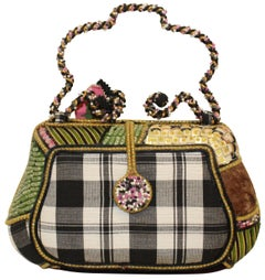 Mary Frances Plaid Floral Beaded Two Top Handles Handbag