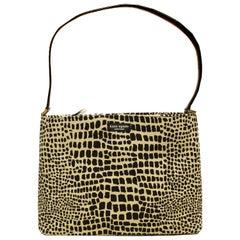 Kate Spade Beige and Brown Grosgrain Top Handle Bag