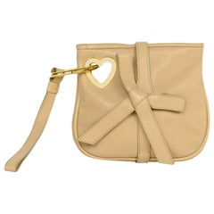 Moschino Nude Leather Bow Wristlet W/ Dust Bag